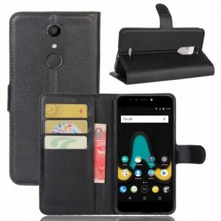 Tasche Wallet Premium Schwarz für Wiko Upulse Hülle Case Cover Etui Schutz Neu