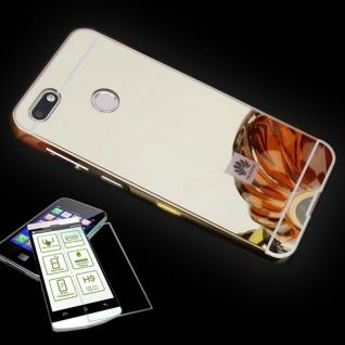 Alu Bumper 2 teilig Gold + 0, 3 H9 Schutzglas für Huawei Y6 2018 Tasche Hülle Neu