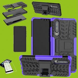 Für Huawei P30 Hybrid Tasche Cover Outdoor 2teilig Lila Etui Hülle + H9 Glas Neu