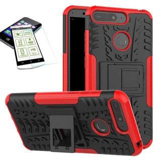 Für Huawei Y6 2018 Hybrid Case Tasche Outdoor 2teilig Rot Hülle + H9 Glas Cover