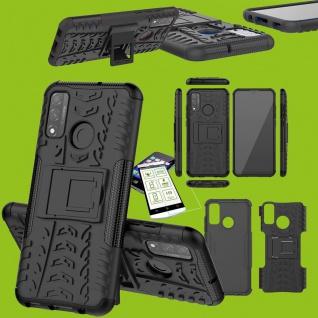 Für Huawei P Smart Pro 2020 Hybrid Handy Tasche Hülle Cover Schwarz H9 Glas Case