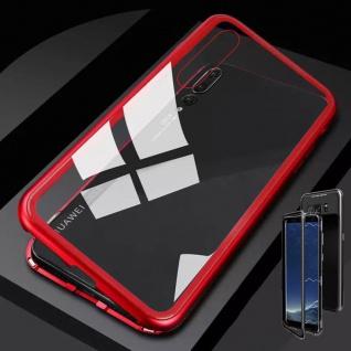 Für Huawei P20 Lite Magnet / Metall / Glas Case Rot / Transparent Tasche Hülle