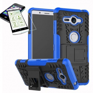 Hybrid Case 2 teilig Blau für Sony Xperia XZ2 Compact + 0, 26 H9 Glas Tasche Neu