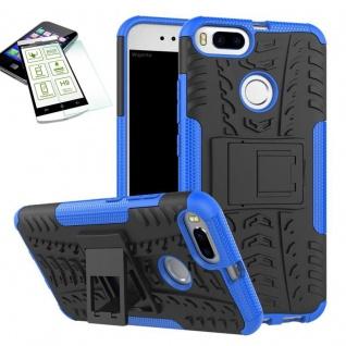Hybrid Tasche Outdoor 2teilig Blau für Xiaomi Mi 5X Mi A1 Hülle Hartglas Case