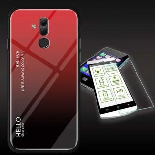 Für Huawei Mate 20 Lite Color Effekt Rot Tasche Hülle + H9 Hart Glas Cover Neu
