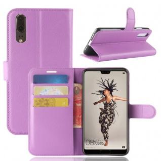 Tasche Wallet Premium Lila für Huawei P20 Hülle Case Cover Schutz Etui Schale