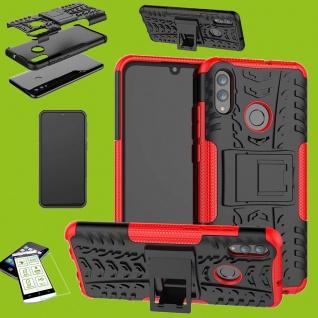 Für Samsung Galaxy A50 6.4 Zoll Hybrid Tasche Outdoor 2teilig Rot + H9 Glas Etui