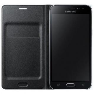 Samsung Flip Wallet Tasche Hülle Kunstleder EF-WJ320 für Galaxy J3 2016 Schwarz