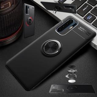 Für Huawei Y6 2019 Magnet Metall Ring ultra dünn Schwarz Tasche Etuis Hülle Neu