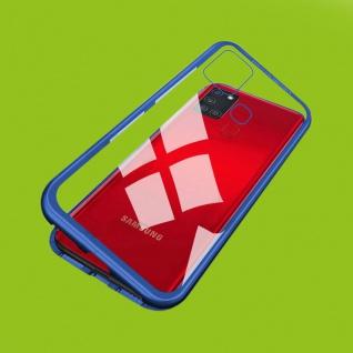 Für Samsung Galaxy A21s A217F Magnet Metall Glas Blau Handy Tasche Hülle Case