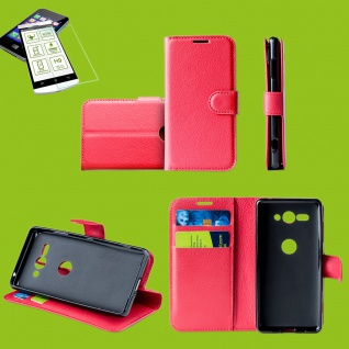 Für Huawei P Smart 2019 Tasche Wallet Premium Rot Hülle Etuis + H9 Hart Glas Neu