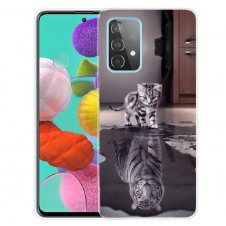 Für Samsung Galaxy A52 Silikon TPU Motiv Tiger Handy Tasche Hülle Transparent