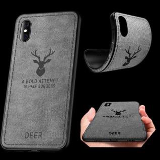 Premium Tasche Silikon Kunstleder Grau für Apple iPhone XS MAX 6.5 Hülle Case