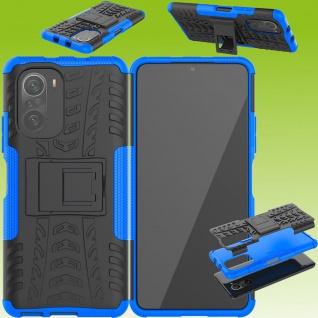 Für Xiaomi Redmi Note 10 / 10s Hybrid Case Outdoor Blau Handy Tasche Etuis Cover