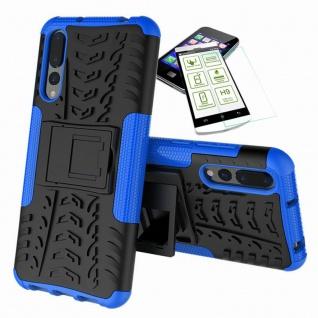 Für Huawei P20 Hybrid Case Tasche Outdoor 2teilig Blau Hülle + H9 Glas Hülle Neu
