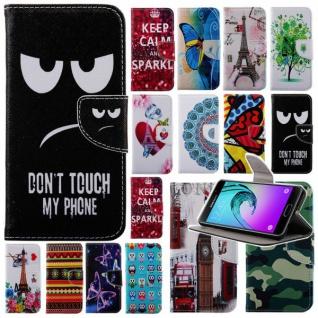 Bookcover Wallet Muster für Smartphones Tasche Hülle Case Etui Cover Zubehör Neu
