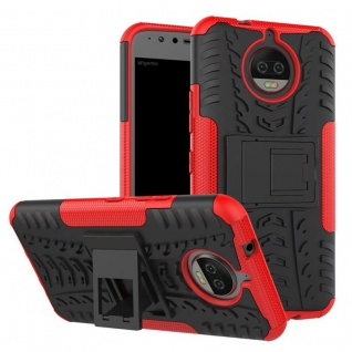 Hybrid Case 2teilig Outdoor Rot Tasche Hülle für Motorola Moto G5S Plus Etui Neu