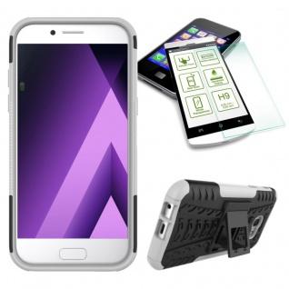 Hybrid Case Tasche 2teilig Weiß für Samsung Galaxy A3 2017 A320F + H9 Hartglas