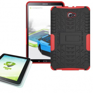 Hybrid Outdoor Tasche Rot für Samsung Galaxy Tab A 10.1 T580 + 0.4 Hartglas