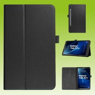 Für Samsung Galaxy Tab S7 Plus / S7 FE Schwarz Kunst Leder Hülle Tablet Tasche Etuis