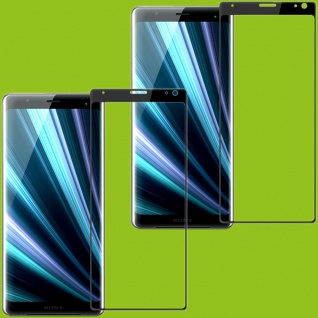 Für Sony Xperia 10 2x 4D Display 0, 3 mm H9 Hart Glas Schwarz Folie Curved Neu