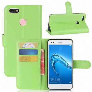 Tasche Wallet Premium Grün für Huawei Y6 Pro 2017 / Enjoy 7 Hülle Case Cover Neu