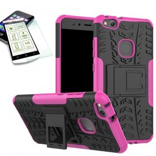 Hybrid Case Tasche Outdoor 2teilig Pink für Huawei P10 Lite Hülle + Hartglas