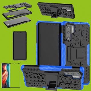 Für Huawei P30 Pro Hybrid Tasche Etuis 2teilig Blau Hülle + 4D Curved H9 Glas