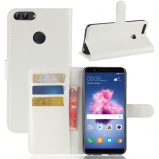 Tasche Wallet Premium Weiß für Huawei Enjoy 7S / P Smart Hülle Case Cover Etui