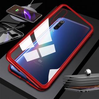 Für Xiaomi Redmi Note 8 Magnet Metall Glas Transparent / Rot Tasche Hülle Cover