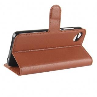 Tasche Wallet Premium Braun für Wiko Sunny 2 Plus Hülle Case Cover Etui Schutz - Vorschau 5