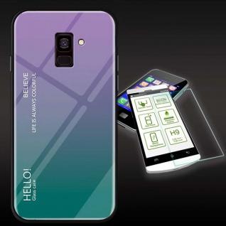 Für Samsung Galaxy J4 Plus J415F Color Effekt Lila Tasche Hülle H9 Hart Glas Neu