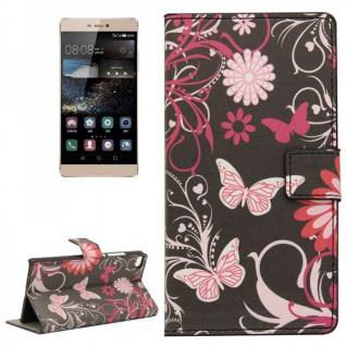 Schutzhülle Muster 4 für Huawei Ascend P8 Bookcover Tasche Hülle Wallet Case Neu