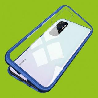 Für Xiaomi Mi Note 10 Lite Magnet Metall Glas Blau Handy Tasche Hülle Case Etuis