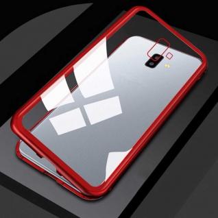 Für Samsung Galaxy J4 Plus J415F Magnet Metall Glas Transparent Rot Tasche Hülle