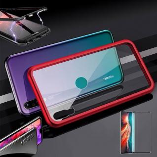 Für Huawei P30 Magnet Glas Tasche Rot / Transparent + 0, 3 4D H9 Glas Etuis Hülle