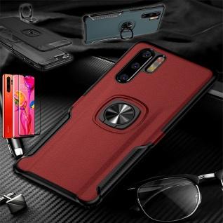 Für Huawei P30 Pro Magnet Metall Ring Hybrid Rot Tasche Etuis + 4D H9 Glas Case