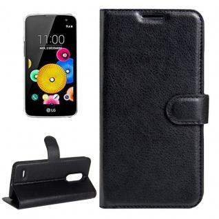 Tasche Wallet Premium Schwarz für LG K4 ( 2017 ) Schutz Hülle Case Cover Etui