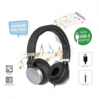 Stereo Headset Kopfhörer Hörer Eara One Ohrhörer mit USB Typ C & 3, 5 mm Schwarz