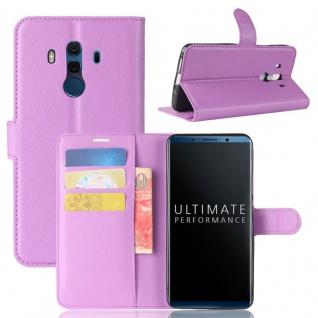 Tasche Wallet Premium Lila für Huawei Mate 10 Pro Hülle Case Cover Etui Schutz