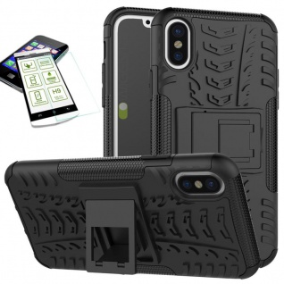 Hybrid Tasche Outdoor 2teilig Schwarz für Apple iPhone XS MAX Hülle + Hartglas