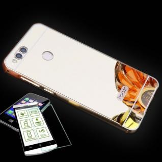 Alu Bumper 2 teilig Gold + 0, 3 H9 Panzerglas für Huawei Honor 7X Tasche Hülle
