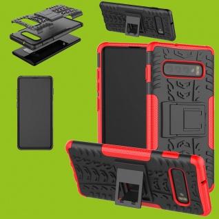 Für Samsung Galaxy S10 Plus G975F 6.4 Hybrid 2teilig Outdoor Rot Tasche Etuis
