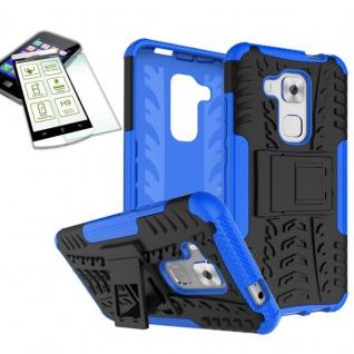 Hybrid Case Tasche Outdoor 2teilig Blau für Huawei Nova Plus + Hartglas Cover