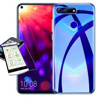 Für Huawei Honor View 20 Silikon TPU Transparent + H9 Glas Tasche Hülle Etuis
