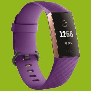 Für Fitbit Charge 3 Kunststoff / Silikon Armband für Männer / Größe L Lila Uhr