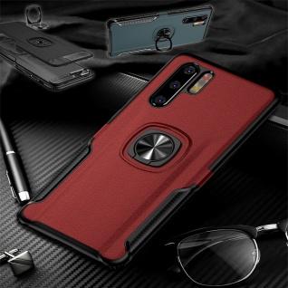 Für Huawei P30 Lite Magnet Metall Ring Hybrid Rot Tasche Hülle Etuis Cover Case