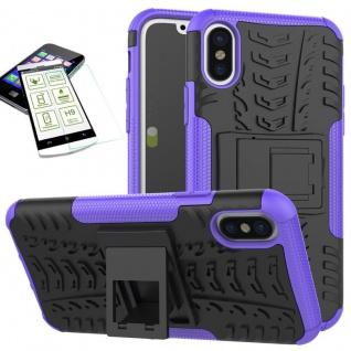 Für Apple iPhone XR 6.1 Hybrid Case 2teilig Lila + Hart Glas Tasche Hülle Cover