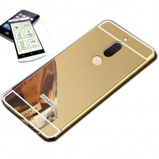 Alu Bumper 2 teilig Gold + 0, 3 H9 Glas für Huawei Honor View 10 / V10 Tasche Neu