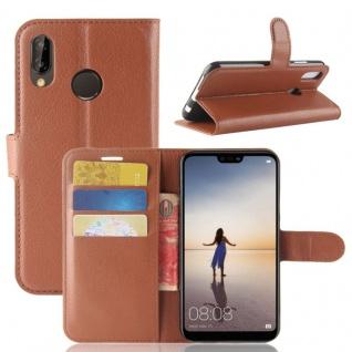 Tasche Wallet Premium Braun für Huawei P20 Lite Hülle Case Cover Schutz Schale
